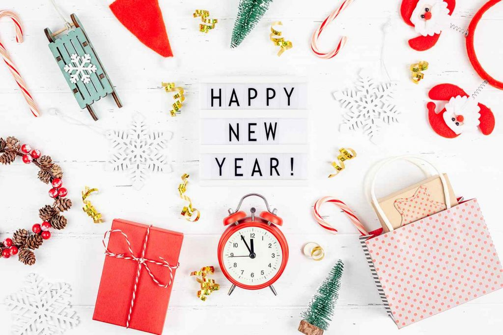 happy new year composition alarm clock lightbox BZSYC